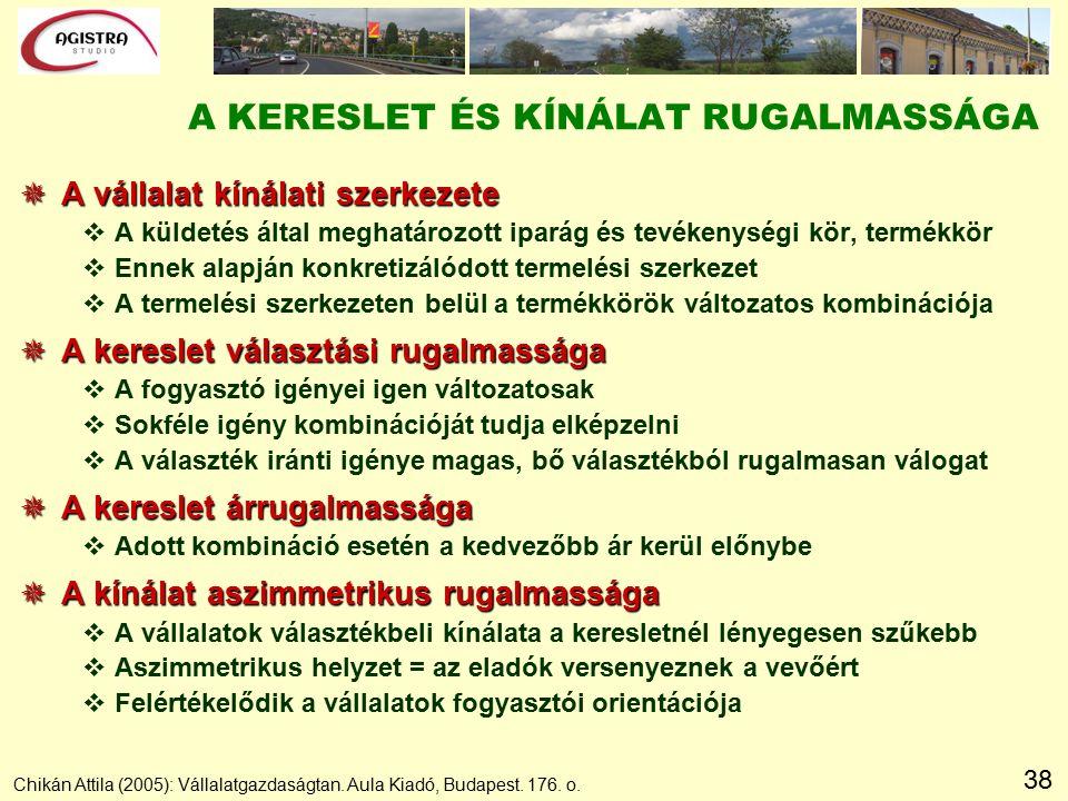 38 Chikán Attila (2005): Vállalatgazdaságtan. Aula Kiadó, Budapest. 176. o. A KERESLET ÉS KÍNÁLAT RUGALMASSÁGA  A vállalat kínálati szerkezete vA kül