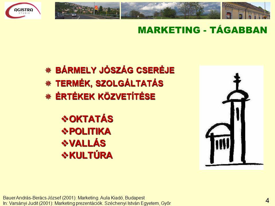 4 MARKETING - TÁGABBAN  BÁRMELY JÓSZÁG CSERÉJE  TERMÉK, SZOLGÁLTATÁS  ÉRTÉKEK KÖZVETÍTÉSE vOKTATÁS vPOLITIKA vVALLÁS vKULTÚRA Bauer András-Berács József (2001): Marketing.