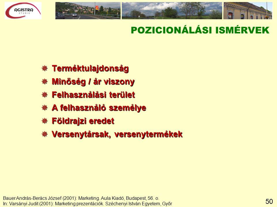 50 POZICIONÁLÁSI ISMÉRVEK  Terméktulajdonság  Minőség / ár viszony  Felhasználási terület  A felhasználó személye  Földrajzi eredet  Versenytársak, versenytermékek Bauer András-Berács József (2001): Marketing.