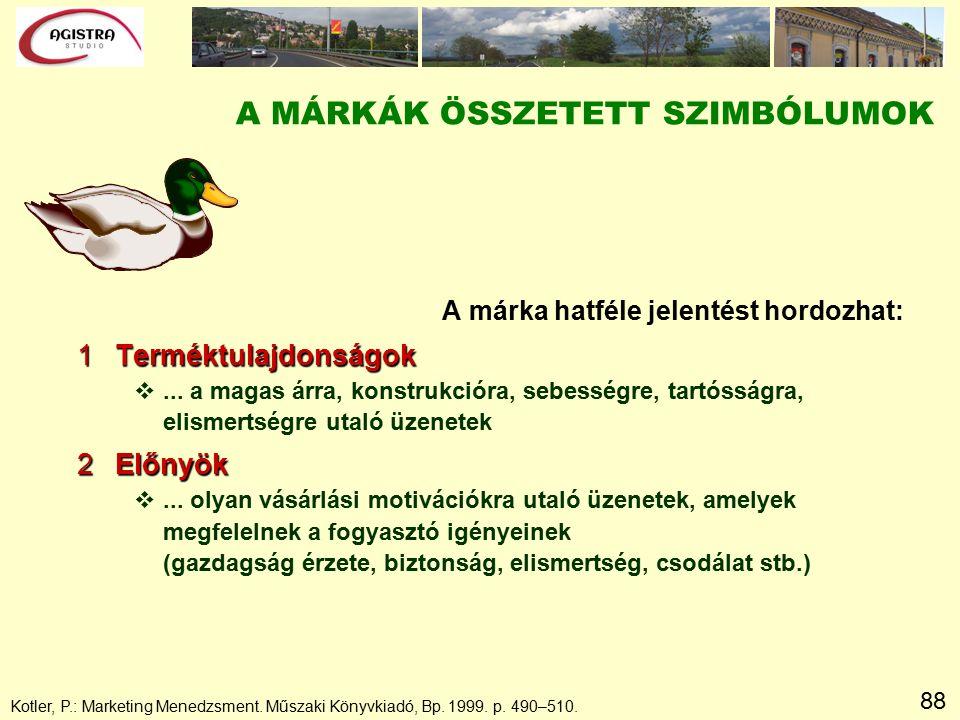 88 A MÁRKÁK ÖSSZETETT SZIMBÓLUMOK A márka hatféle jelentést hordozhat: 1Terméktulajdonságok v...