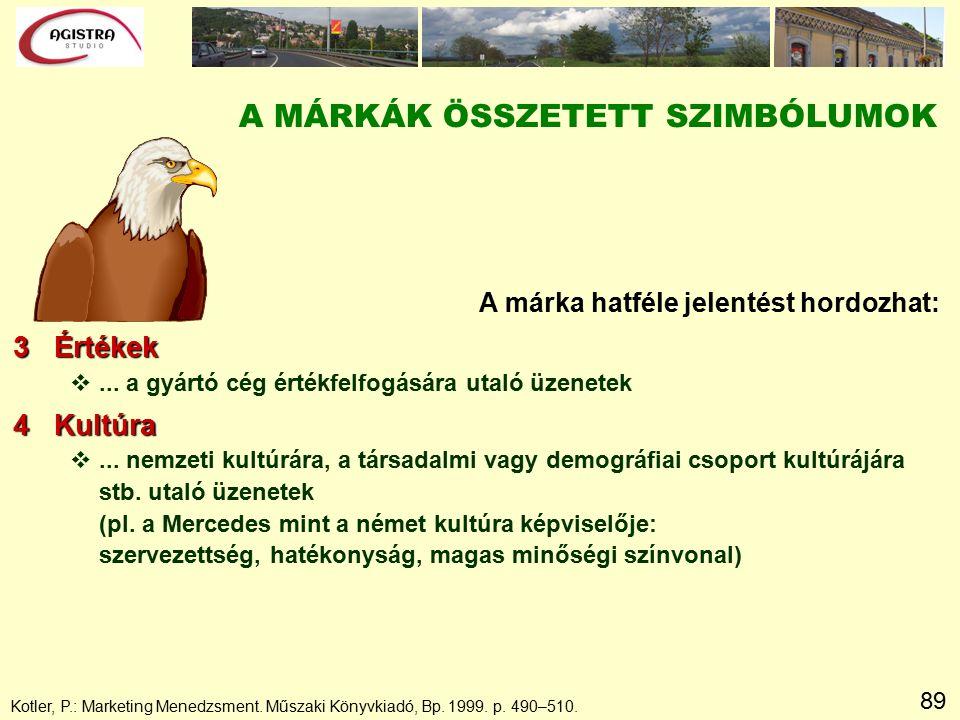 89 A MÁRKÁK ÖSSZETETT SZIMBÓLUMOK A márka hatféle jelentést hordozhat: 3 Értékek v...