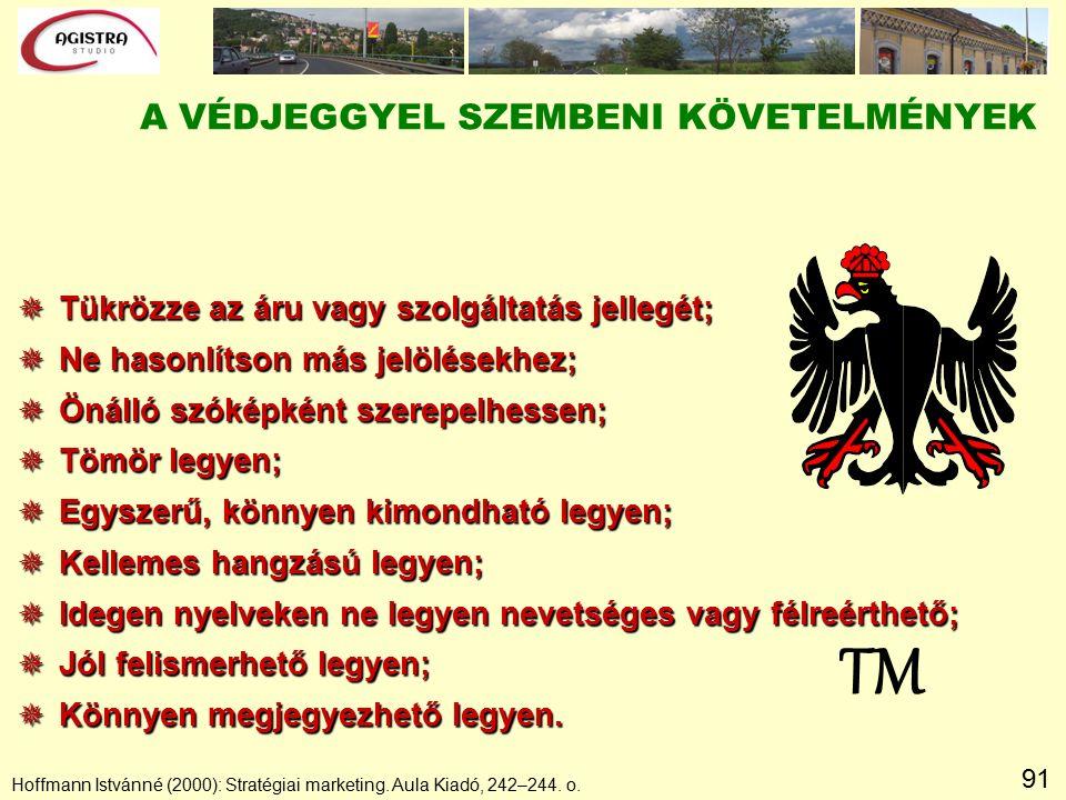 91 Hoffmann Istvánné (2000): Stratégiai marketing. Aula Kiadó, 242–244. o. TM A VÉDJEGGYEL SZEMBENI KÖVETELMÉNYEK  Tükrözze az áru vagy szolgáltatás