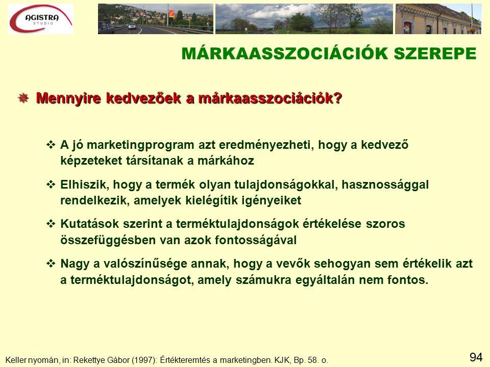 94 Keller nyomán, in: Rekettye Gábor (1997): Értékteremtés a marketingben. KJK, Bp. 58. o. MÁRKAASSZOCIÁCIÓK SZEREPE  Mennyire kedvezőek a márkaasszo