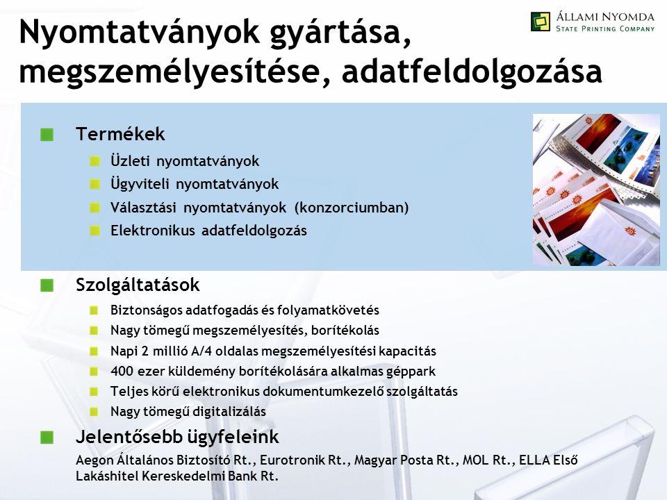Nyomtatványok gyártása, megszemélyesítése, adatfeldolgozása Termékek Üzleti nyomtatványok Ügyviteli nyomtatványok Választási nyomtatványok (konzorciumban) Elektronikus adatfeldolgozás Szolgáltatások Biztonságos adatfogadás és folyamatkövetés Nagy tömegű megszemélyesítés, borítékolás Napi 2 millió A/4 oldalas megszemélyesítési kapacitás 400 ezer küldemény borítékolására alkalmas géppark Teljes körű elektronikus dokumentumkezelő szolgáltatás Nagy tömegű digitalizálás Jelentősebb ügyfeleink Aegon Általános Biztosító Rt., Eurotronik Rt., Magyar Posta Rt., MOL Rt., ELLA Első Lakáshitel Kereskedelmi Bank Rt.