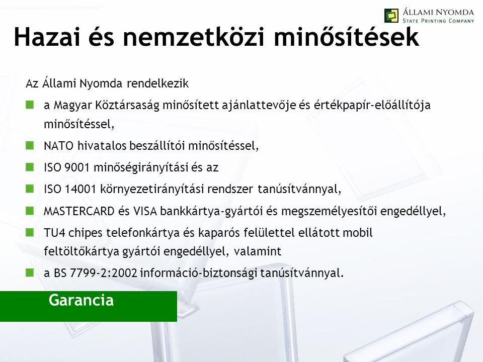 Hazai és nemzetközi minősítések Az Állami Nyomda rendelkezik a Magyar Köztársaság minősített ajánlattevője és értékpapír-előállítója minősítéssel, NATO hivatalos beszállítói minősítéssel, ISO 9001 minőségirányítási és az ISO 14001 környezetirányítási rendszer tanúsítvánnyal, MASTERCARD és VISA bankkártya-gyártói és megszemélyesítői engedéllyel, TU4 chipes telefonkártya és kaparós felülettel ellátott mobil feltöltőkártya gyártói engedéllyel, valamint a BS 7799-2:2002 információ-biztonsági tanúsítvánnyal.