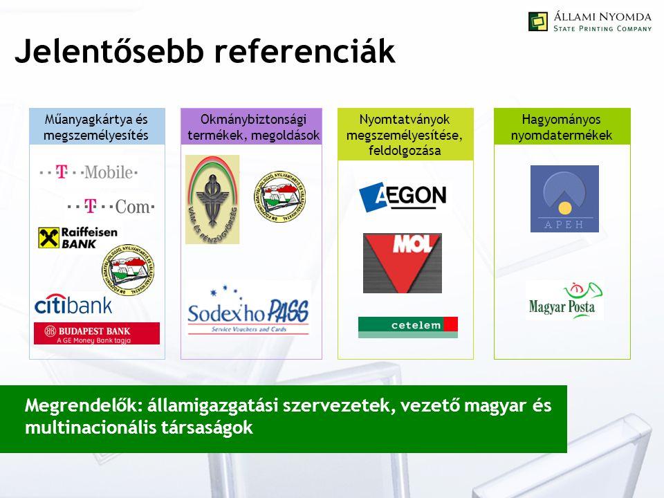 Jelentősebb referenciák Megrendelők: államigazgatási szervezetek, vezető magyar és multinacionális társaságok Műanyagkártya és megszemélyesítés Okmánybiztonsági termékek, megoldások Nyomtatványok megszemélyesítése, feldolgozása Hagyományos nyomdatermékek
