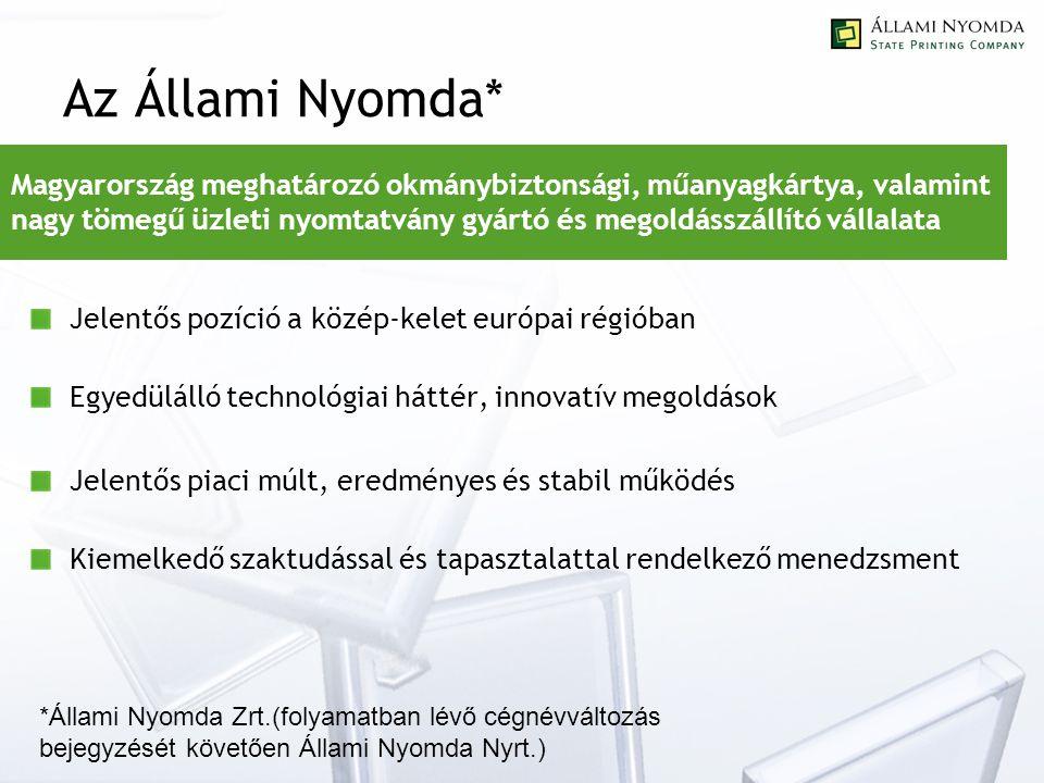 Az Állami Nyomda* Jelentős pozíció a közép-kelet európai régióban Egyedülálló technológiai háttér, innovatív megoldások Jelentős piaci múlt, eredményes és stabil működés Kiemelkedő szaktudással és tapasztalattal rendelkező menedzsment Magyarország meghatározó okmánybiztonsági, műanyagkártya, valamint nagy tömegű üzleti nyomtatvány gyártó és megoldásszállító vállalata *Állami Nyomda Zrt.(folyamatban lévő cégnévváltozás bejegyzését követően Állami Nyomda Nyrt.)