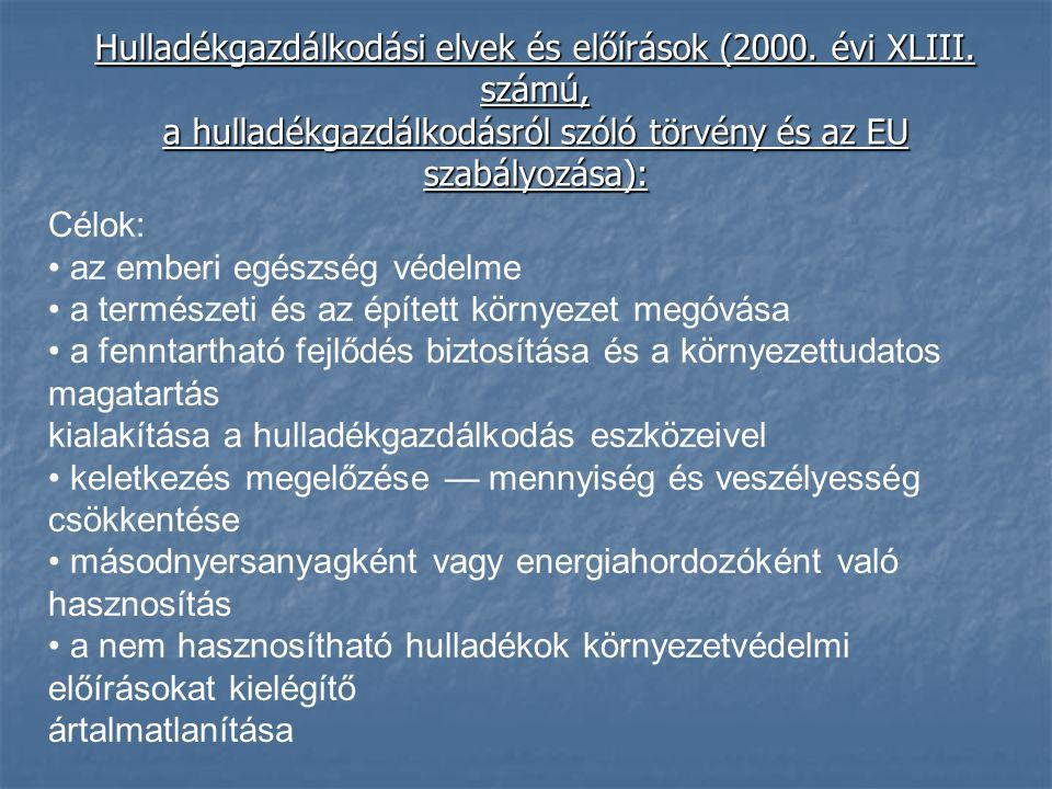 Hulladékgazdálkodási elvek és előírások (2000. évi XLIII. számú, a hulladékgazdálkodásról szóló törvény és az EU szabályozása): Célok: az emberi egész