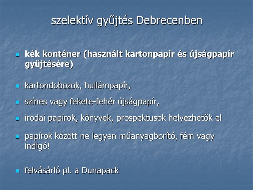 szelektív gyűjtés Debrecenben kék konténer (használt kartonpapír és újságpapír gyűjtésére) kék konténer (használt kartonpapír és újságpapír gyűjtésére