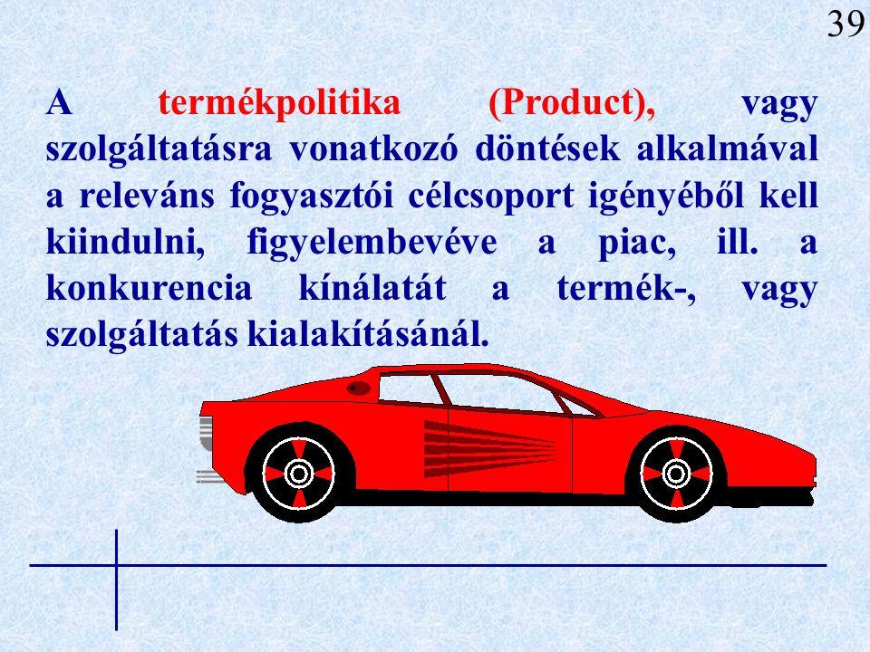 57 TERMÉKPOLITIKA (product) ÉRTÉKESÍTÉSI POLITIKA (place-distribution) ÁRPOLITIKA (price) KOMMUNIKÁCIÓS POLITIKA (promotion) termékfejlesztés, termékek pozicionálása, termékkutatás költségvizsgálatok, árkialakítás, engedmények, kedvezmények elosztási csatornák, kereskedelmi partnerek, személyes ért.