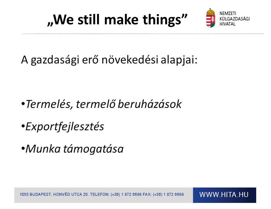 """""""We still make things A gazdasági erő növekedési alapjai: Termelés, termelő beruházások Exportfejlesztés Munka támogatása"""