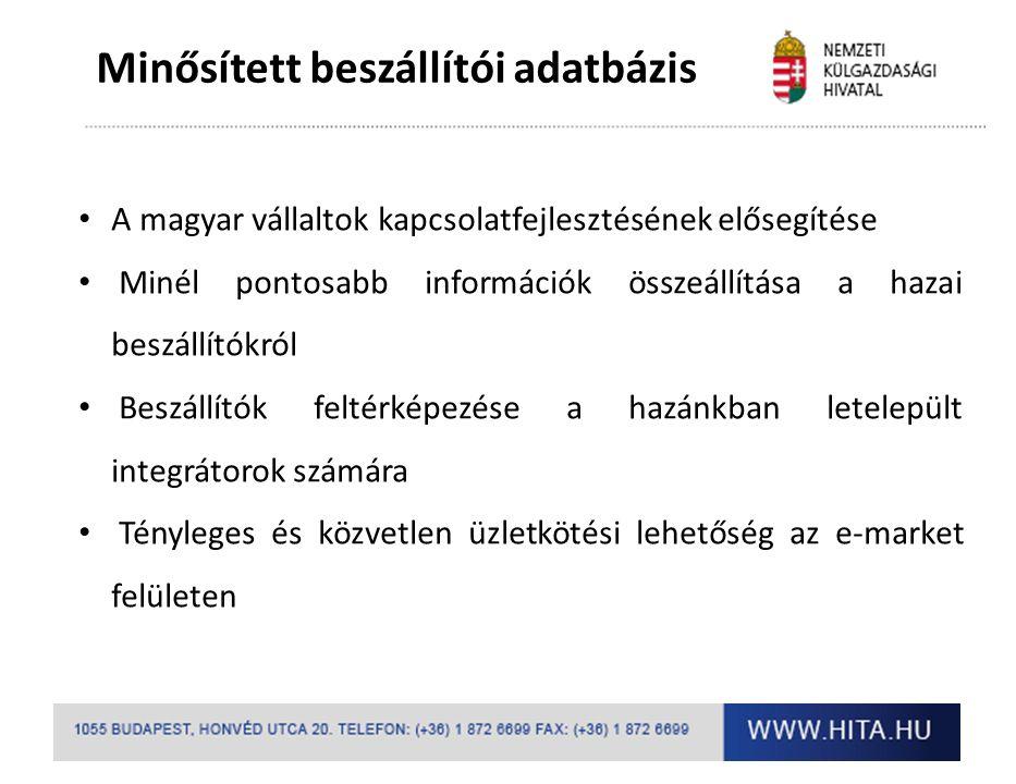 Minősített beszállítói adatbázis A magyar vállaltok kapcsolatfejlesztésének elősegítése Minél pontosabb információk összeállítása a hazai beszállítókról Beszállítók feltérképezése a hazánkban letelepült integrátorok számára Tényleges és közvetlen üzletkötési lehetőség az e-market felületen