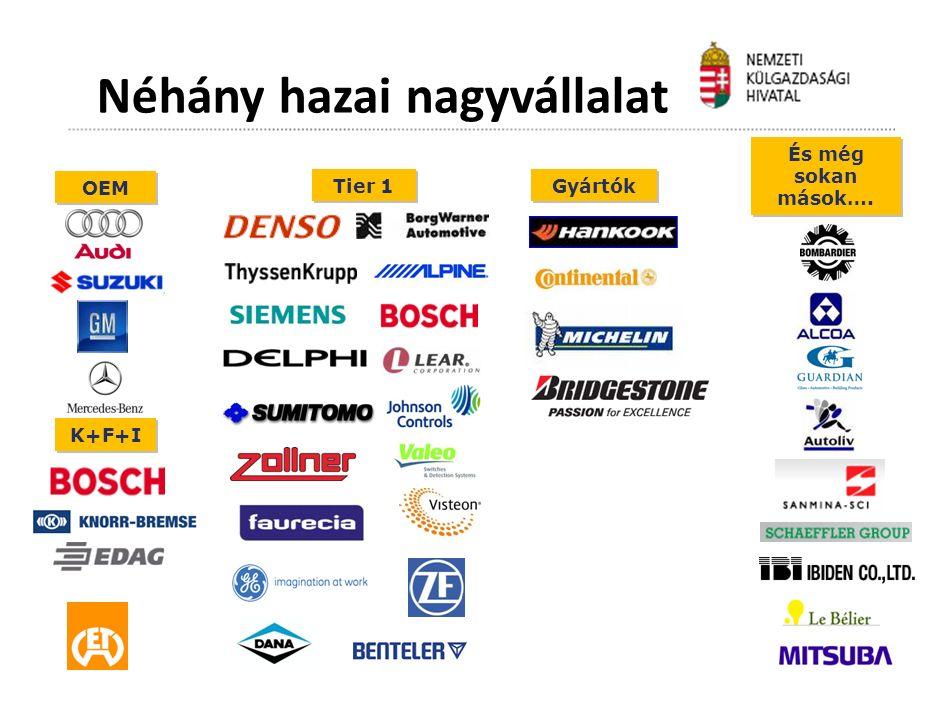 Tier 1 Gyártók K+F+I És még sokan mások…. OEM Néhány hazai nagyvállalat
