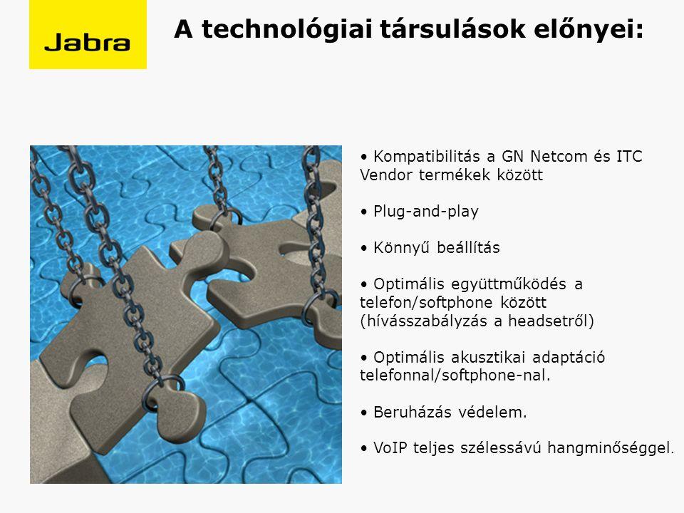 A technológiai társulások előnyei: Kompatibilitás a GN Netcom és ITC Vendor termékek között Plug-and-play Könnyű beállítás Optimális együttműködés a telefon/softphone között (hívásszabályzás a headsetről) Optimális akusztikai adaptáció telefonnal/softphone-nal.