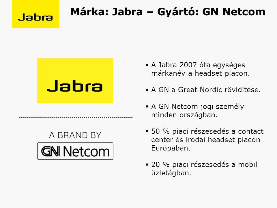  A Jabra 2007 óta egységes márkanév a headset piacon.