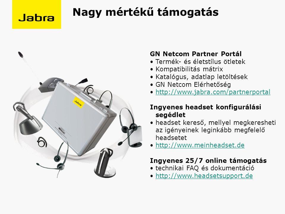 GN Netcom Partner Portál Termék- és életstílus ötletek Kompatibilitás mátrix Katalógus, adatlap letöltések GN Netcom Elérhetőség http://www.jabra.com/partnerportal Ingyenes headset konfigurálási segédlet headset kereső, mellyel megkeresheti az igényeinek leginkább megfelelő headsetet http://www.meinheadset.de Ingyenes 25/7 online támogatás technikai FAQ és dokumentáció http://www.headsetsupport.de Nagy mértékű támogatás