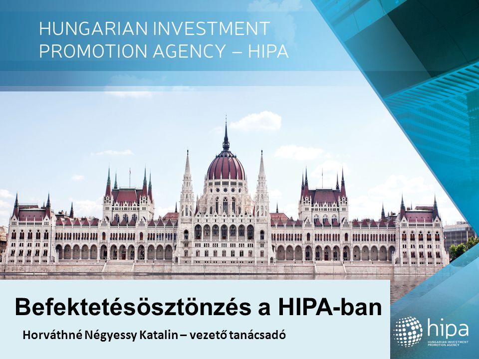 Befektetésösztönzés a HIPA-ban Horváthné Négyessy Katalin – vezető tanácsadó