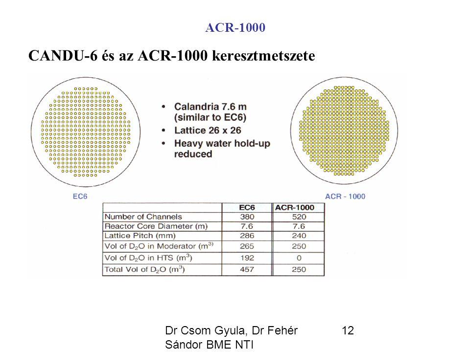 Dr Csom Gyula, Dr Fehér Sándor BME NTI 12 ACR-1000 CANDU-6 és az ACR-1000 keresztmetszete