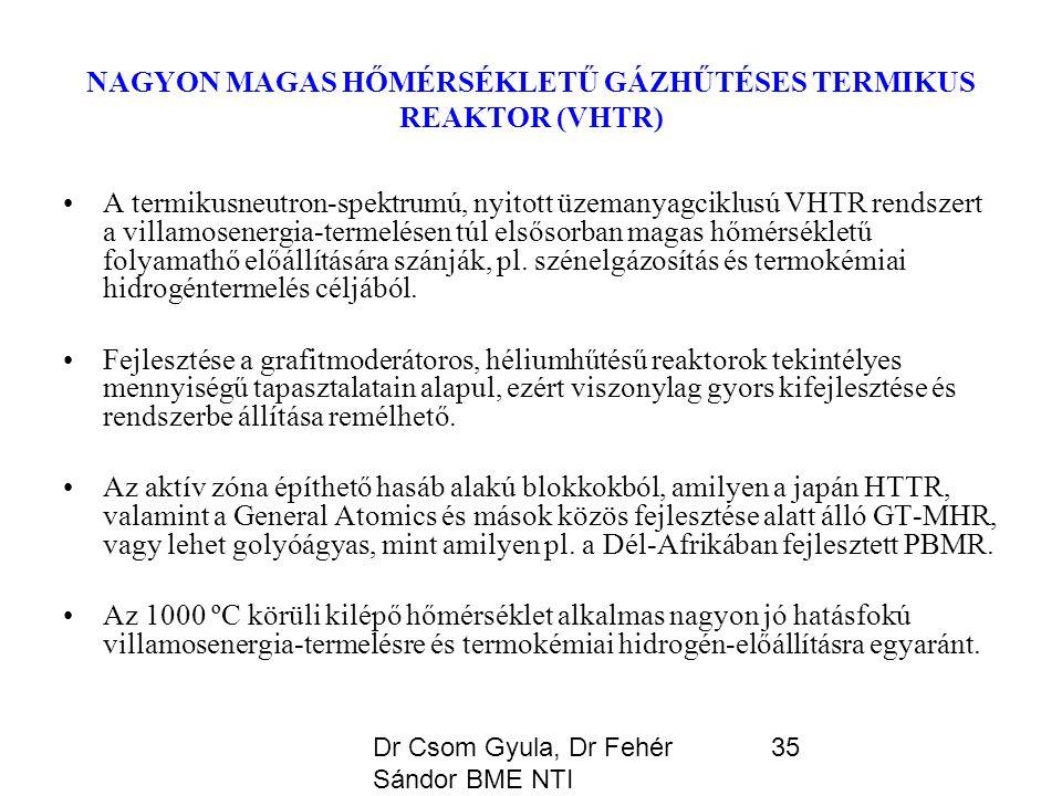 Dr Csom Gyula, Dr Fehér Sándor BME NTI 35 NAGYON MAGAS HŐMÉRSÉKLETŰ GÁZHŰTÉSES TERMIKUS REAKTOR (VHTR) A termikusneutron-spektrumú, nyitott üzemanyagciklusú VHTR rendszert a villamosenergia-termelésen túl elsősorban magas hőmérsékletű folyamathő előállítására szánják, pl.