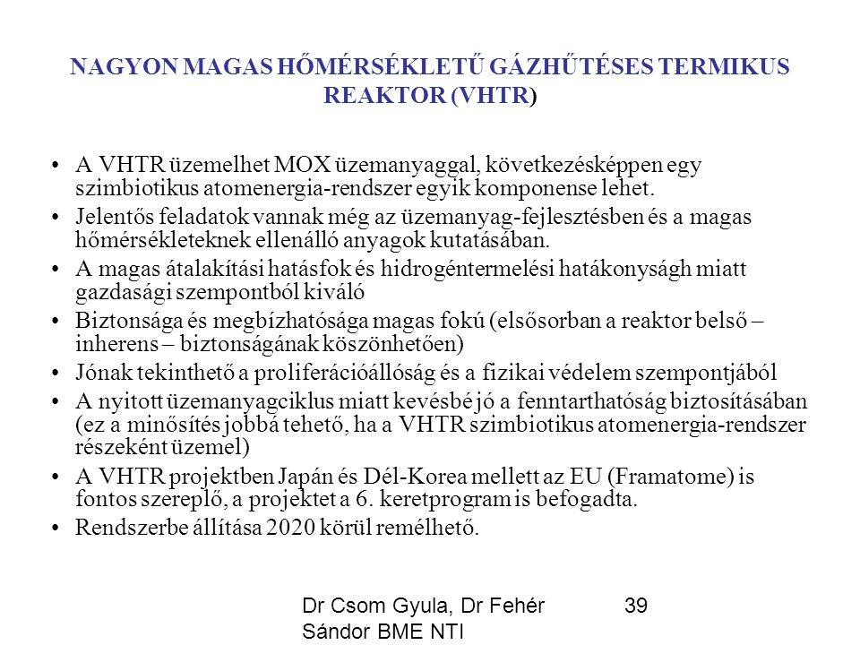 Dr Csom Gyula, Dr Fehér Sándor BME NTI 39 NAGYON MAGAS HŐMÉRSÉKLETŰ GÁZHŰTÉSES TERMIKUS REAKTOR (VHTR) A VHTR üzemelhet MOX üzemanyaggal, következésképpen egy szimbiotikus atomenergia-rendszer egyik komponense lehet.