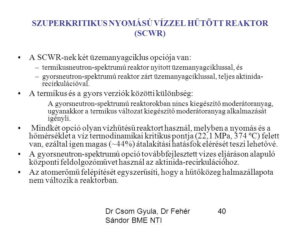 Dr Csom Gyula, Dr Fehér Sándor BME NTI 40 SZUPERKRITIKUS NYOMÁSÚ VÍZZEL HŰTÖTT REAKTOR (SCWR) A SCWR-nek két üzemanyagciklus opciója van: –termikusneutron-spektrumú reaktor nyitott üzemanyagciklussal, és –gyorsneutron-spektrumú reaktor zárt üzemanyagciklussal, teljes aktinida- recirkulációval.