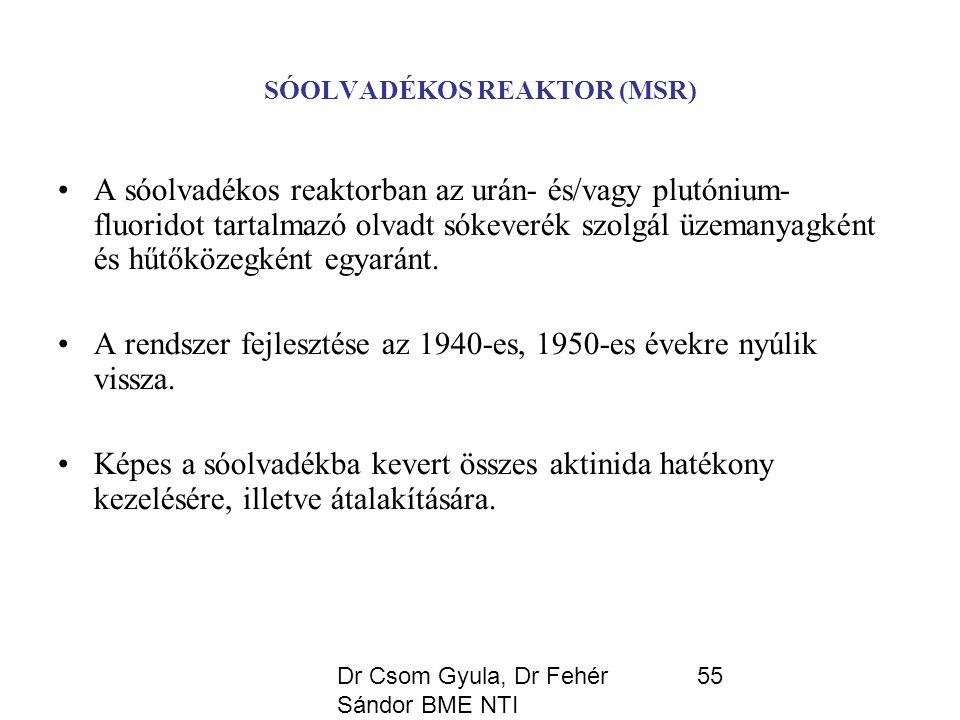 Dr Csom Gyula, Dr Fehér Sándor BME NTI 55 SÓOLVADÉKOS REAKTOR (MSR) A sóolvadékos reaktorban az urán- és/vagy plutónium- fluoridot tartalmazó olvadt sókeverék szolgál üzemanyagként és hűtőközegként egyaránt.