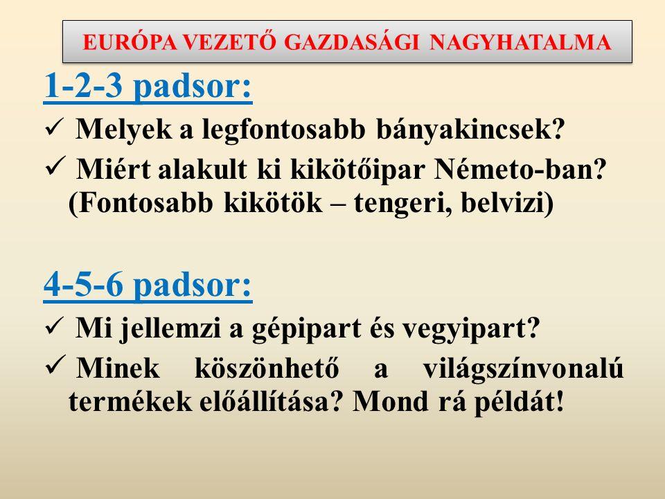 EURÓPA VEZETŐ GAZDASÁGI NAGYHATALMA 1-2-3 padsor: Melyek a legfontosabb bányakincsek? Miért alakult ki kikötőipar Németo-ban? (Fontosabb kikötök – ten