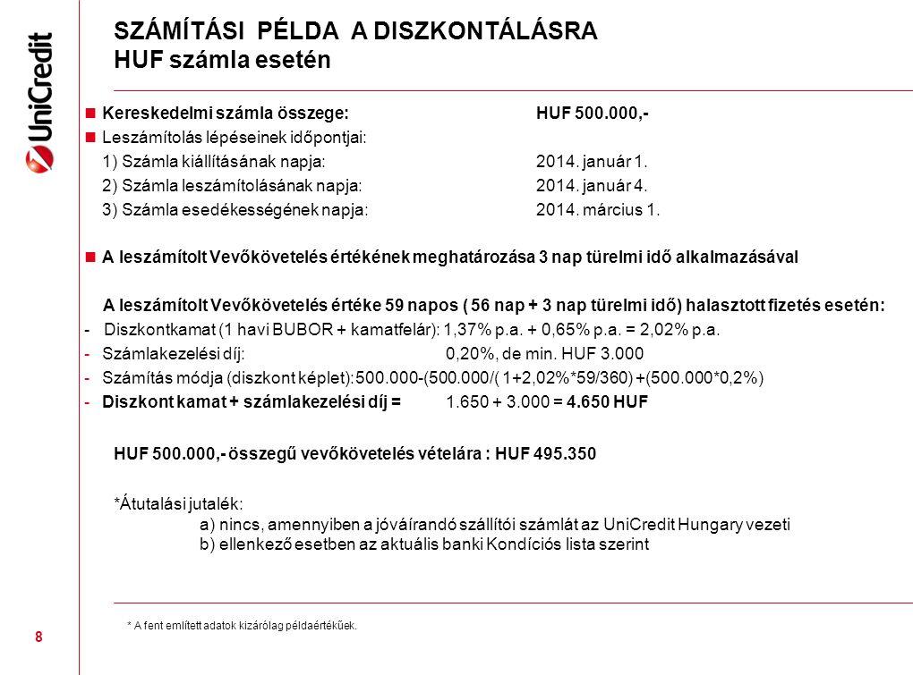 SZÁMÍTÁSI PÉLDA A DISZKONTÁLÁSRA HUF számla esetén Kereskedelmi számla összege: HUF 500.000,- Leszámítolás lépéseinek időpontjai: 1) Számla kiállításának napja:2014.