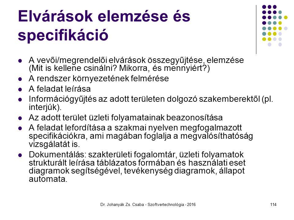 Elvárások elemzése és specifikáció A vevői/megrendelői elvárások összegyűjtése, elemzése (Mit is kellene csinálni.