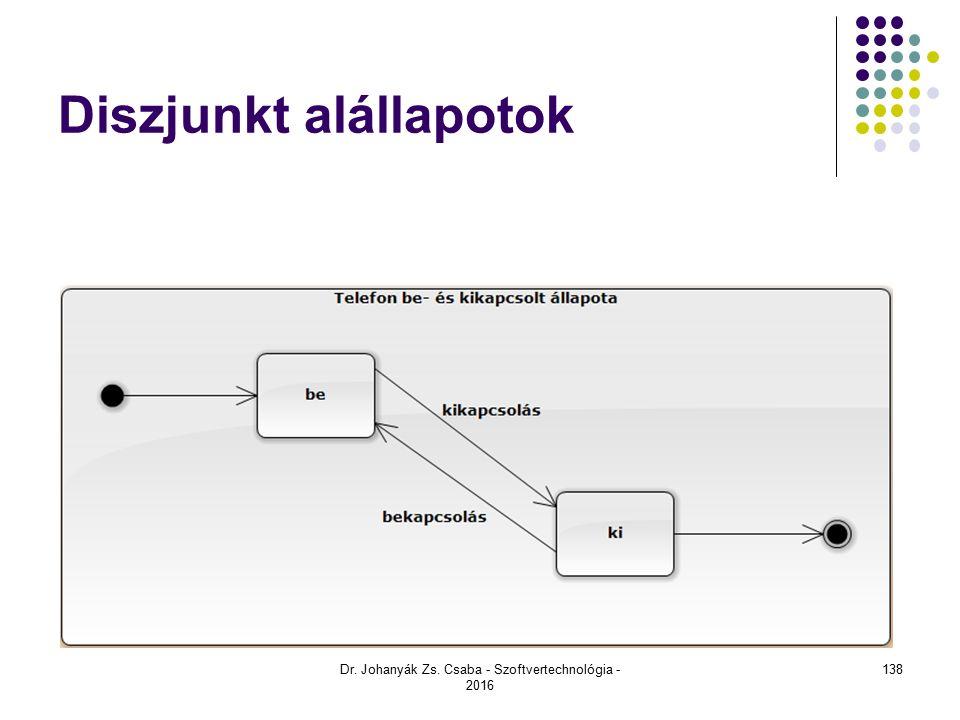 Diszjunkt alállapotok Dr. Johanyák Zs. Csaba - Szoftvertechnológia - 2016 138