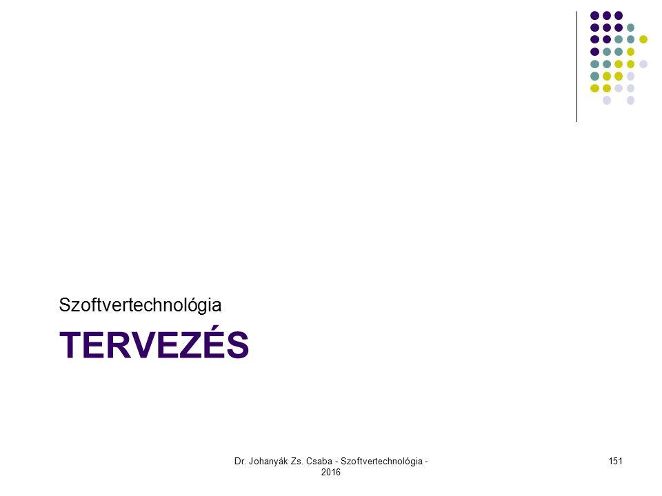 TERVEZÉS Szoftvertechnológia Dr. Johanyák Zs. Csaba - Szoftvertechnológia - 2016 151