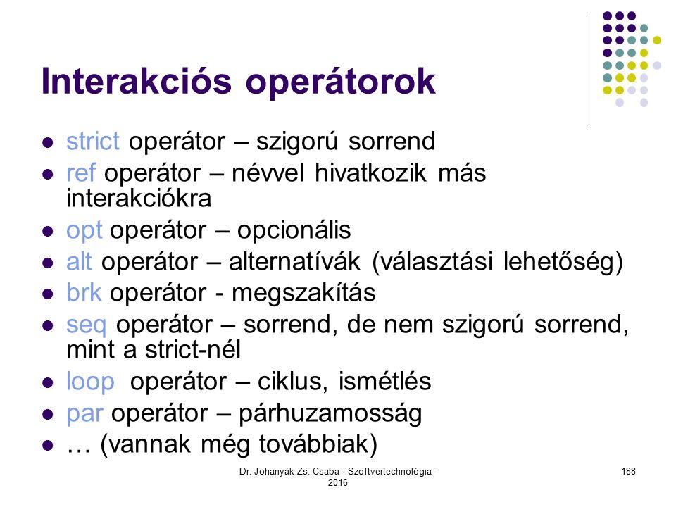 Interakciós operátorok strict operátor – szigorú sorrend ref operátor – névvel hivatkozik más interakciókra opt operátor – opcionális alt operátor – alternatívák (választási lehetőség) brk operátor - megszakítás seq operátor – sorrend, de nem szigorú sorrend, mint a strict-nél loop operátor – ciklus, ismétlés par operátor – párhuzamosság … (vannak még továbbiak) Dr.