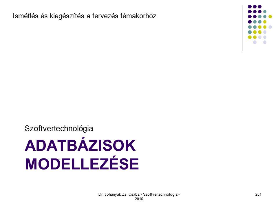 ADATBÁZISOK MODELLEZÉSE Szoftvertechnológia Dr.Johanyák Zs.