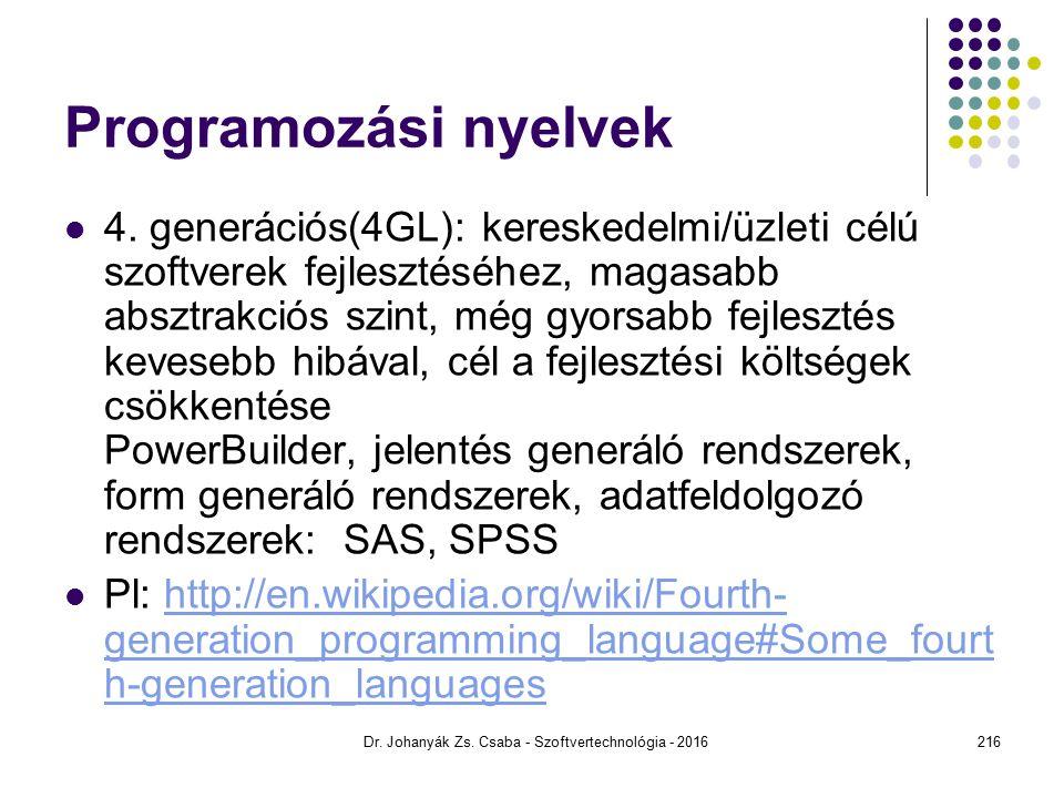 Programozási nyelvek 4.