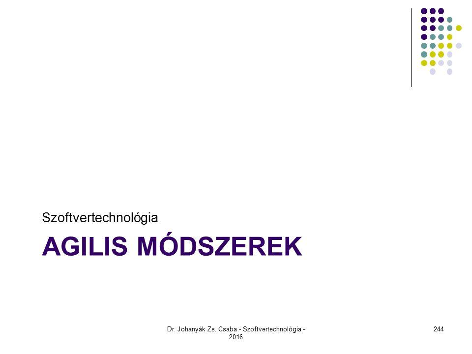 AGILIS MÓDSZEREK Szoftvertechnológia Dr. Johanyák Zs. Csaba - Szoftvertechnológia - 2016 244