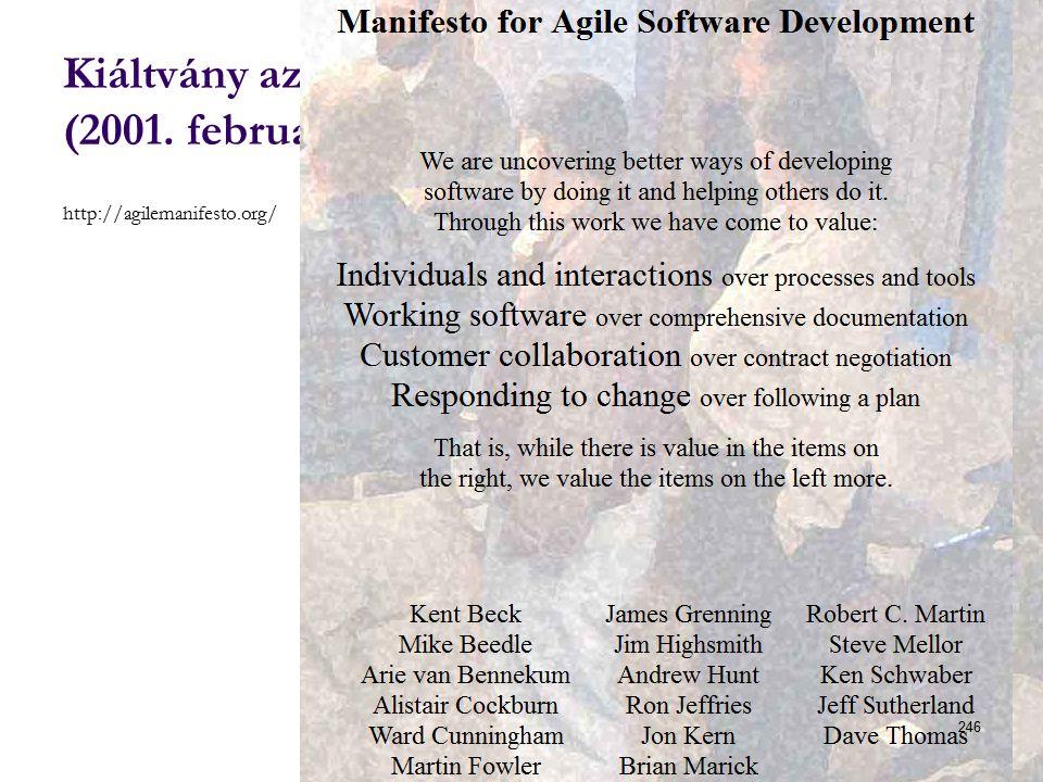 Kiáltvány az agilis szoftverfejlesztéséért (2001.február) http://agilemanifesto.org/ Dr.