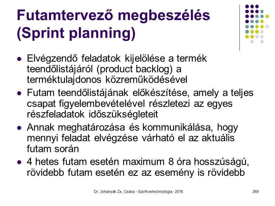 Futamtervező megbeszélés (Sprint planning) Elvégzendő feladatok kijelölése a termék teendőlistájáról (product backlog) a terméktulajdonos közreműködésével Futam teendőlistájának előkészítése, amely a teljes csapat figyelembevételével részletezi az egyes részfeladatok időszükségleteit Annak meghatározása és kommunikálása, hogy mennyi feladat elvégzése várható el az aktuális futam során 4 hetes futam esetén maximum 8 óra hosszúságú, rövidebb futam esetén ez az esemény is rövidebb Dr.