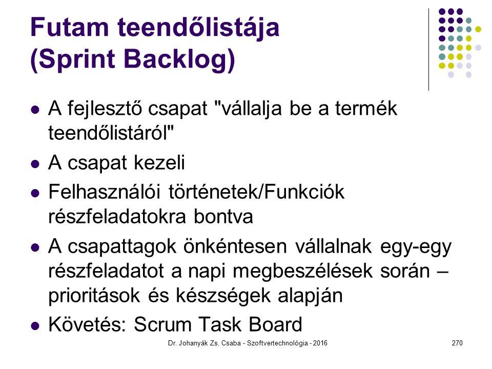 Futam teendőlistája (Sprint Backlog) A fejlesztő csapat vállalja be a termék teendőlistáról A csapat kezeli Felhasználói történetek/Funkciók részfeladatokra bontva A csapattagok önkéntesen vállalnak egy-egy részfeladatot a napi megbeszélések során – prioritások és készségek alapján Követés: Scrum Task Board Dr.