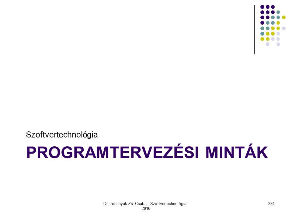 PROGRAMTERVEZÉSI MINTÁK Szoftvertechnológia Dr. Johanyák Zs. Csaba - Szoftvertechnológia - 2016 294