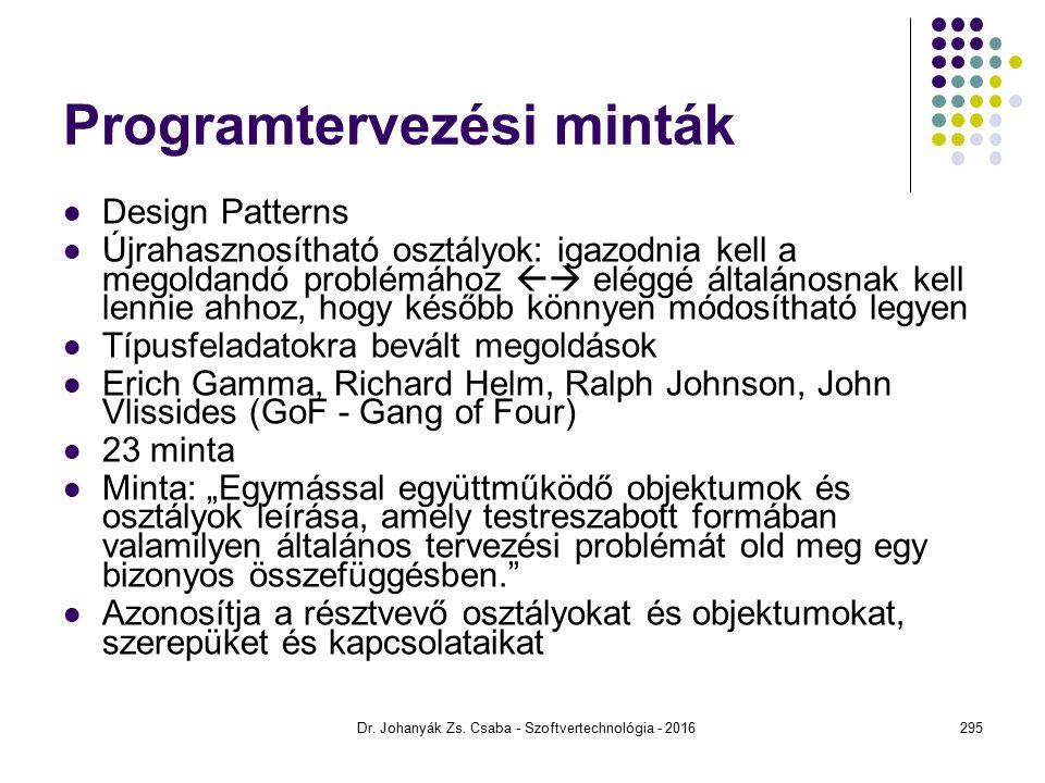 """Programtervezési minták Design Patterns Újrahasznosítható osztályok: igazodnia kell a megoldandó problémához  eléggé általánosnak kell lennie ahhoz, hogy később könnyen módosítható legyen Típusfeladatokra bevált megoldások Erich Gamma, Richard Helm, Ralph Johnson, John Vlissides (GoF - Gang of Four) 23 minta Minta: """"Egymással együttműködő objektumok és osztályok leírása, amely testreszabott formában valamilyen általános tervezési problémát old meg egy bizonyos összefüggésben. Azonosítja a résztvevő osztályokat és objektumokat, szerepüket és kapcsolataikat Dr."""