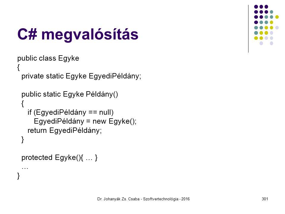 C# megvalósítás public class Egyke { private static Egyke EgyediPéldány; public static Egyke Példány() { if (EgyediPéldány == null) EgyediPéldány = new Egyke(); return EgyediPéldány; } protected Egyke(){ … } … } Dr.