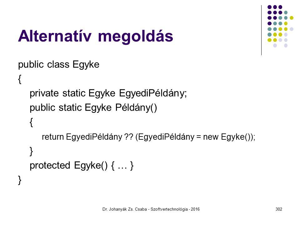 Alternatív megoldás public class Egyke { private static Egyke EgyediPéldány; public static Egyke Példány() { return EgyediPéldány ?.