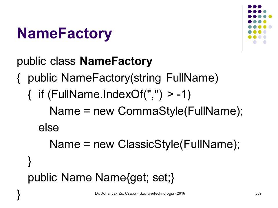 NameFactory public class NameFactory {public NameFactory(string FullName) {if (FullName.IndexOf( , ) > -1) Name = new CommaStyle(FullName); else Name = new ClassicStyle(FullName); } public Name Name{get; set;} } Dr.