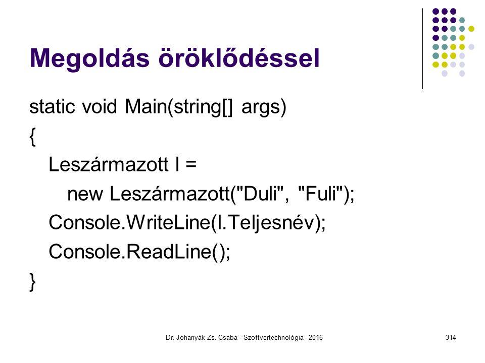 Megoldás öröklődéssel static void Main(string[] args) { Leszármazott l = new Leszármazott( Duli , Fuli ); Console.WriteLine(l.Teljesnév); Console.ReadLine(); } Dr.