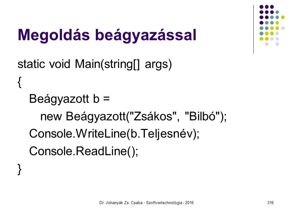 Megoldás beágyazással static void Main(string[] args) { Beágyazott b = new Beágyazott( Zsákos , Bilbó ); Console.WriteLine(b.Teljesnév); Console.ReadLine(); } Dr.