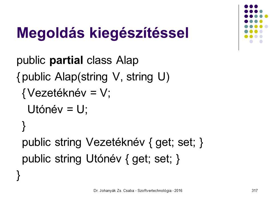 Megoldás kiegészítéssel public partial class Alap {public Alap(string V, string U) {Vezetéknév = V; Utónév = U; } public string Vezetéknév { get; set; } public string Utónév { get; set; } } Dr.