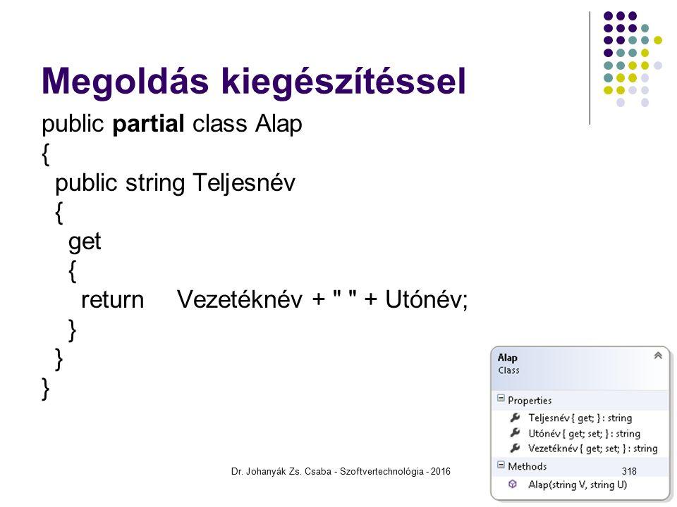 Megoldás kiegészítéssel public partial class Alap { public string Teljesnév { get { return Vezetéknév + + Utónév; } Dr.