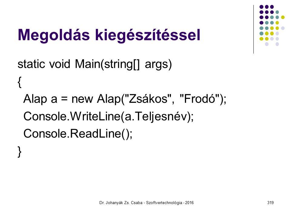 Megoldás kiegészítéssel static void Main(string[] args) { Alap a = new Alap( Zsákos , Frodó ); Console.WriteLine(a.Teljesnév); Console.ReadLine(); } Dr.