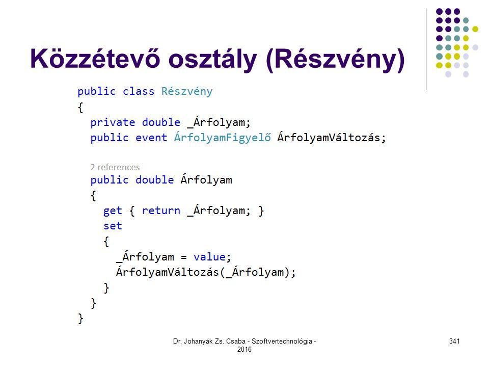 Közzétevő osztály (Részvény) Dr. Johanyák Zs. Csaba - Szoftvertechnológia - 2016 341