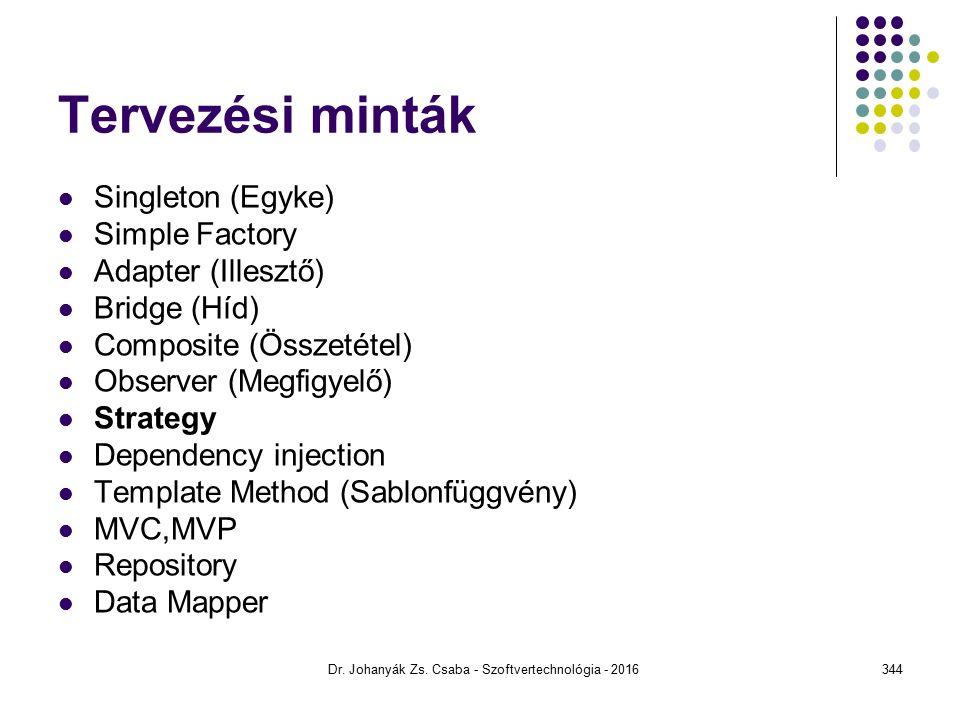 Tervezési minták Singleton (Egyke) Simple Factory Adapter (Illesztő) Bridge (Híd) Composite (Összetétel) Observer (Megfigyelő) Strategy Dependency injection Template Method (Sablonfüggvény) MVC,MVP Repository Data Mapper Dr.